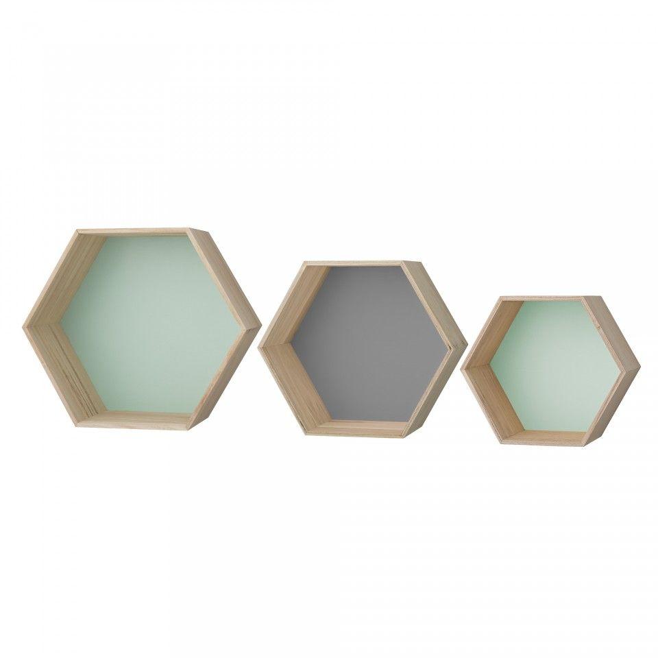 Poze Set 3 Cutii Hexagonale Pentru Perete Natur Gri Verde