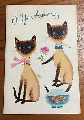 Mid Century Norcross Siamese Cat Couple Goldfish Unused Anniversary Card 32 67 Picclick Ca Vintage Christmas Cards Kittens Vintage Cat Cards