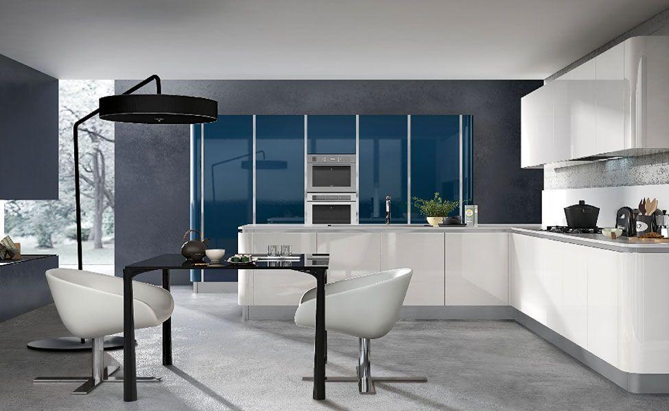 cuisine blanche et bleue | Cuisines blanches modernes | Pinterest ...