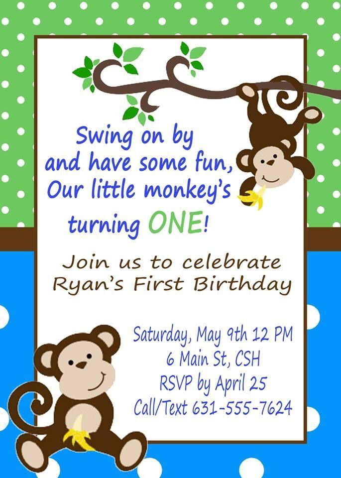 Monkey Birthday Invitation | Monkey, Birthdays and Monkey birthday