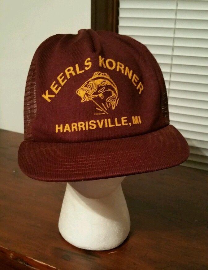 61b3fa369cb251 Vintage Fishing Snapback Cap Trucker Hat, Keerls Korner in Harrisville  Michigan #Trucker