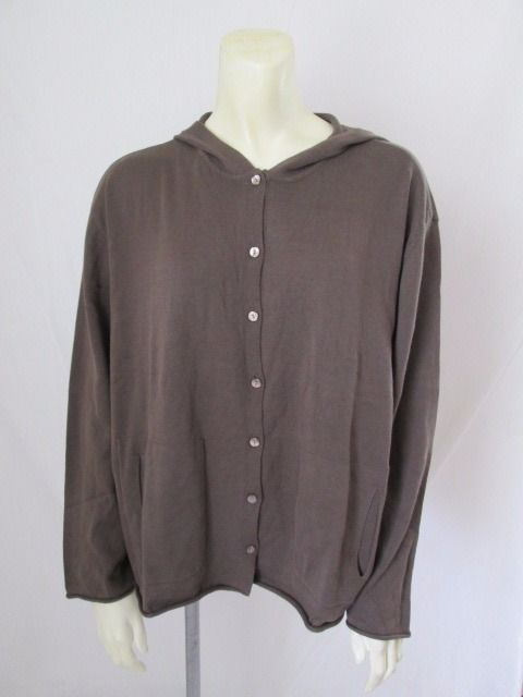 J. Jill New Brown Hooded Cardigan Button Front Long Sleeve Thin ...