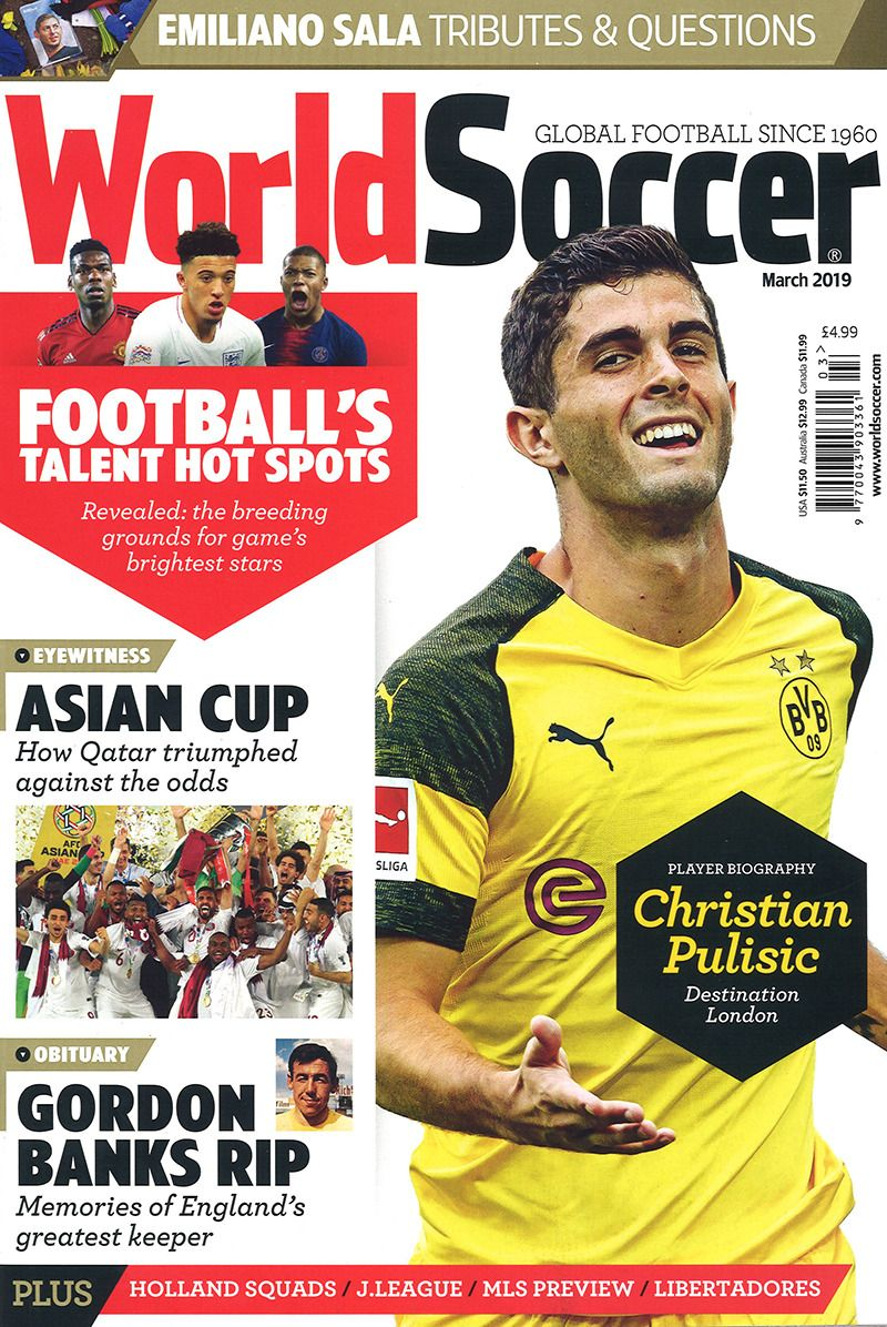 World Soccer March 2019 Sports Magazine Christian Pulisic Soccer