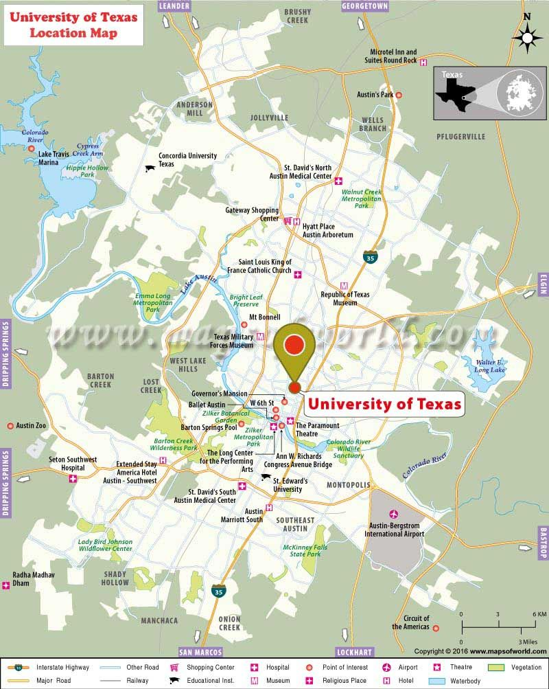 The University Of Texas At Austin Tx Usa In A Nutshell Map