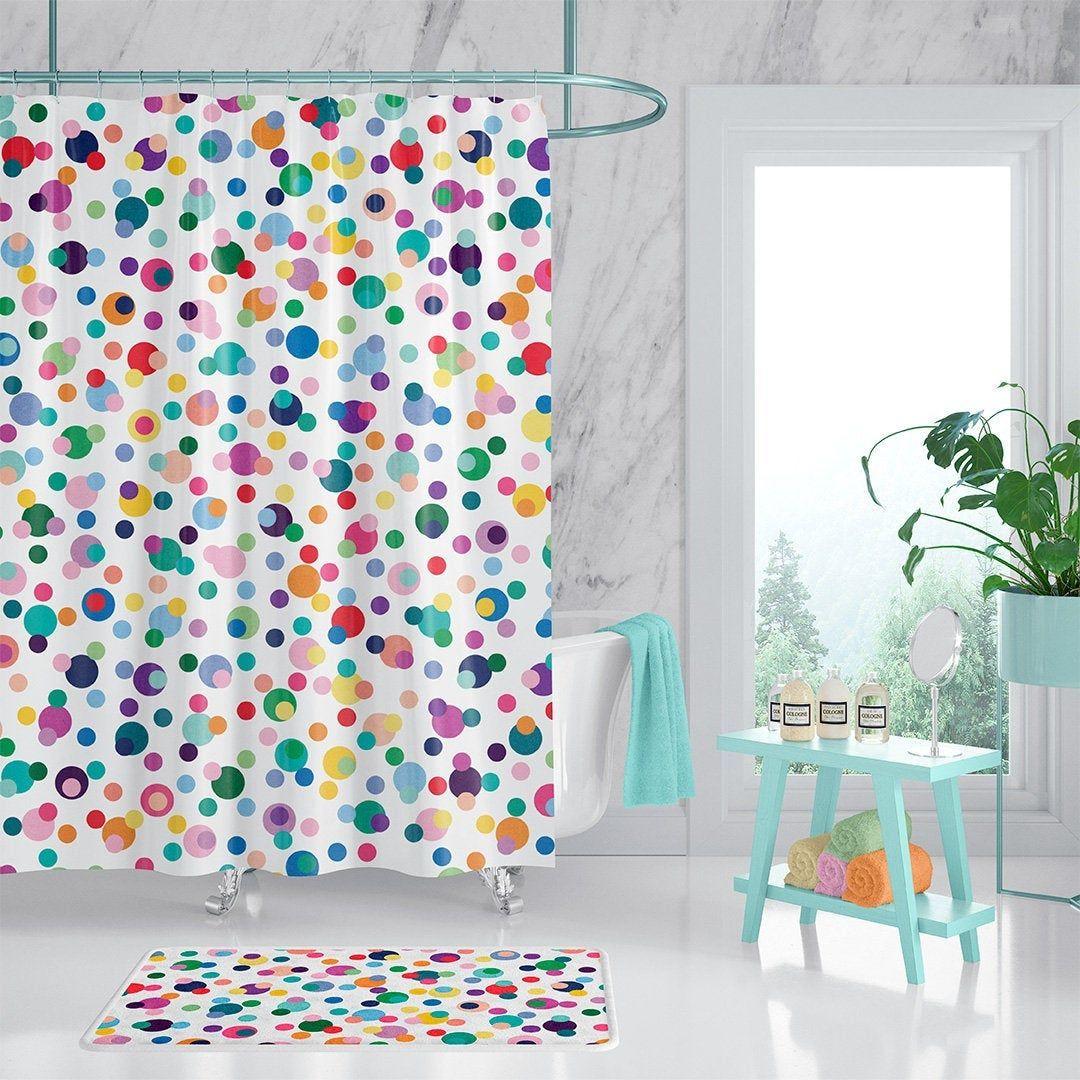 colorful kids bathroom decor polka dot