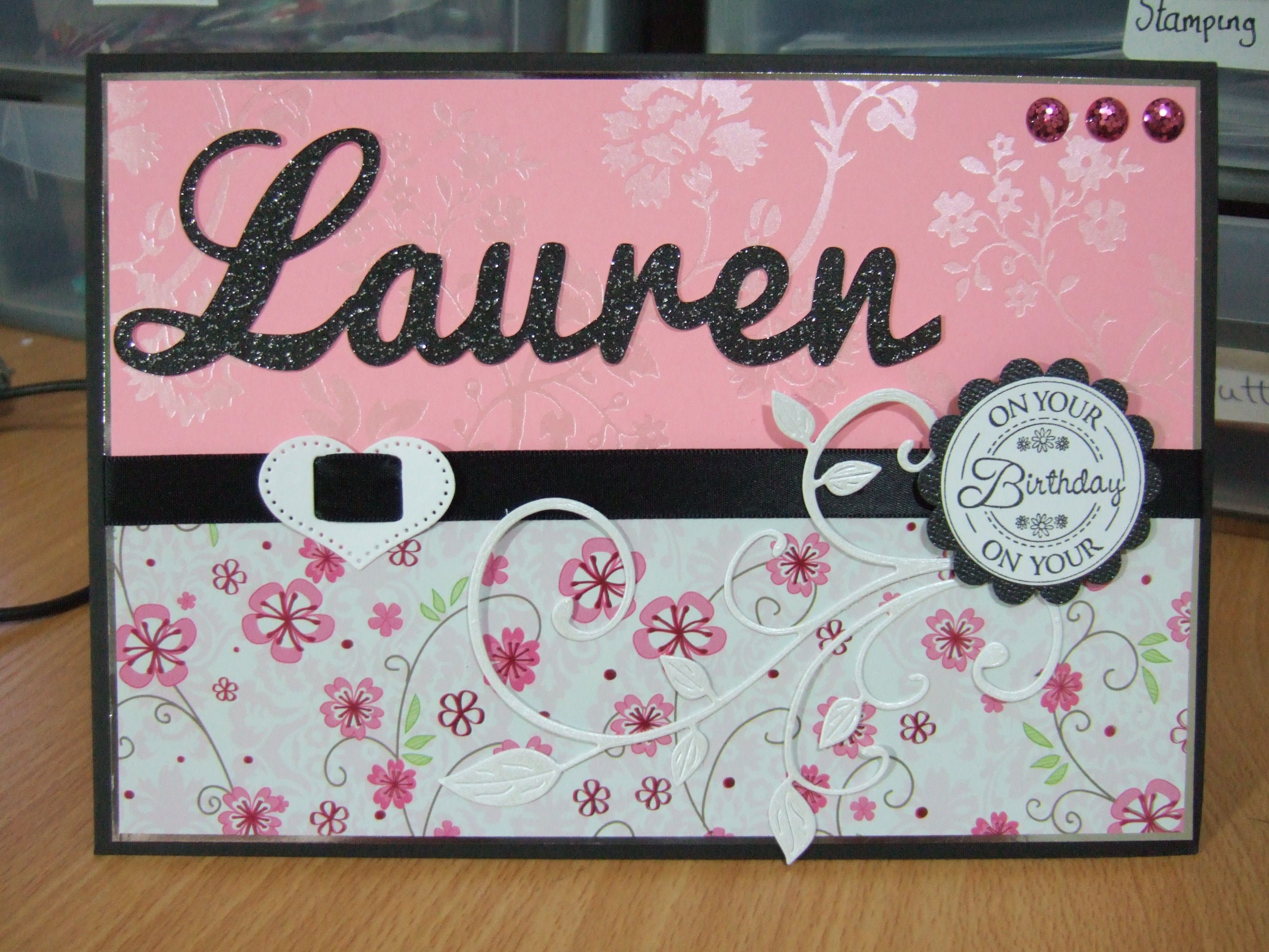 a5 handmade card ribbon pearls personalised name sentiment