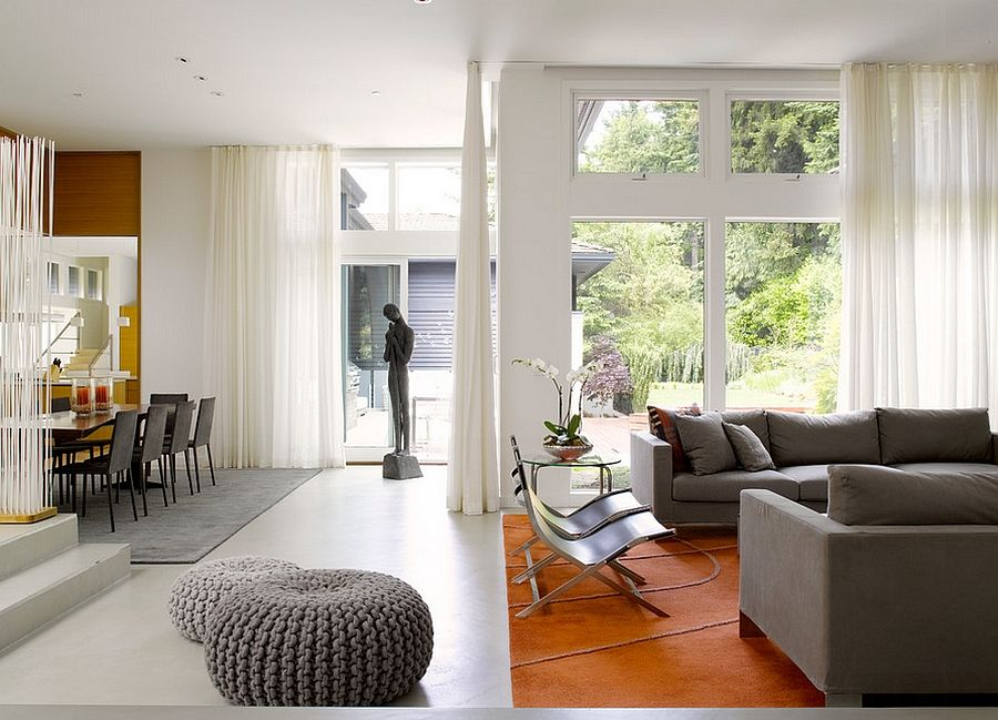 Interior With White Sheer Curtains And Decor In Gray Remodeled Seattle Home Creates A Cheerful Indoor Outdoor Interplay