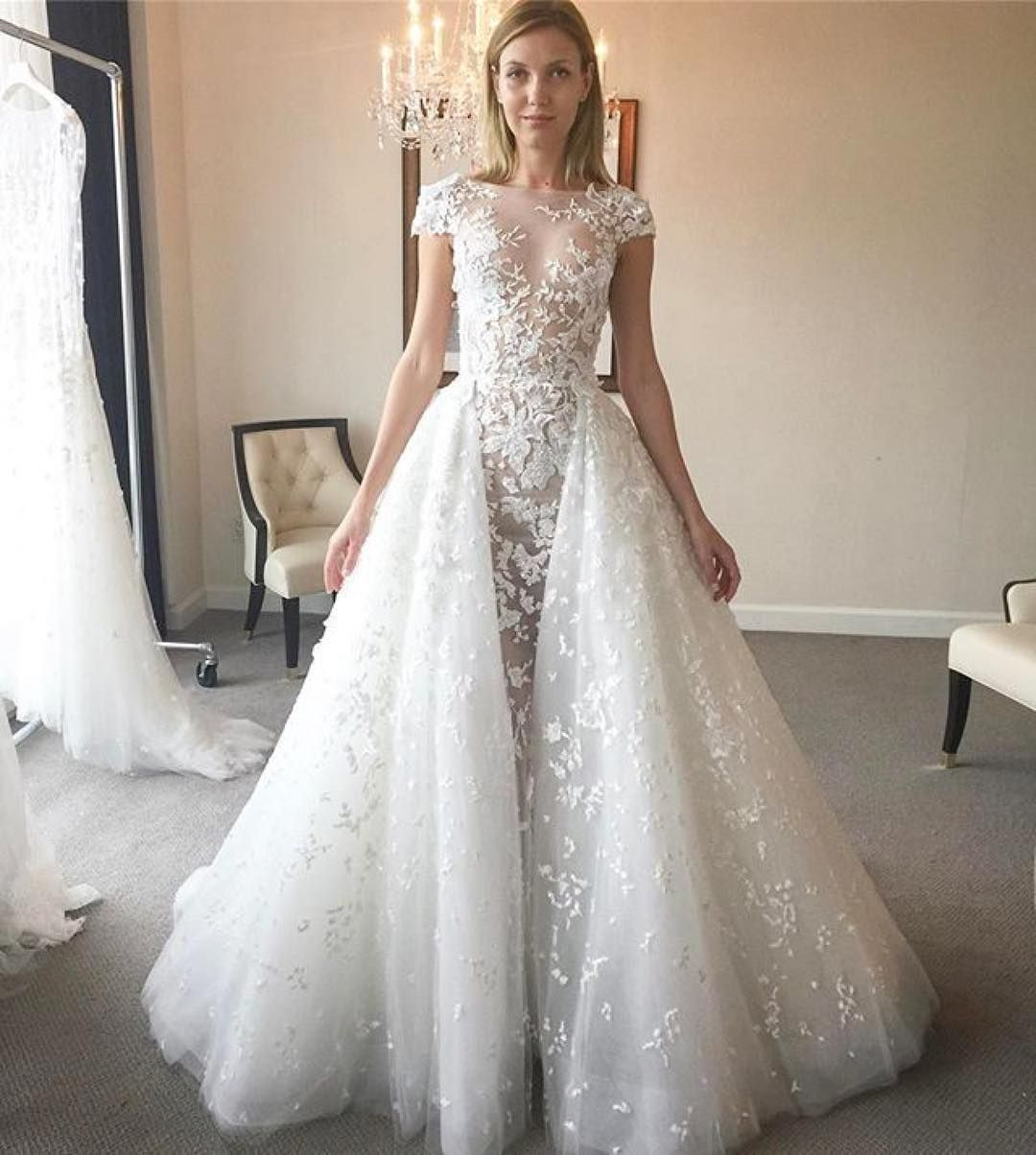 Belleandtulle New Arrival Style Vanna Illusion Cap Sleeves Tulle Ballgow Wedding Dresses Zuhair Murad Backless Mermaid Wedding Dresses Lace Bridal Gown [ 1204 x 1080 Pixel ]