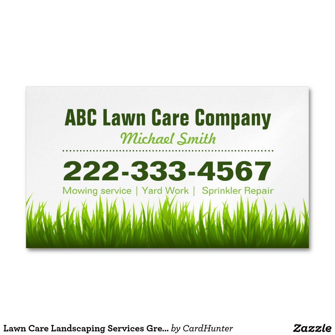lawn care landscaping services green grass style business card