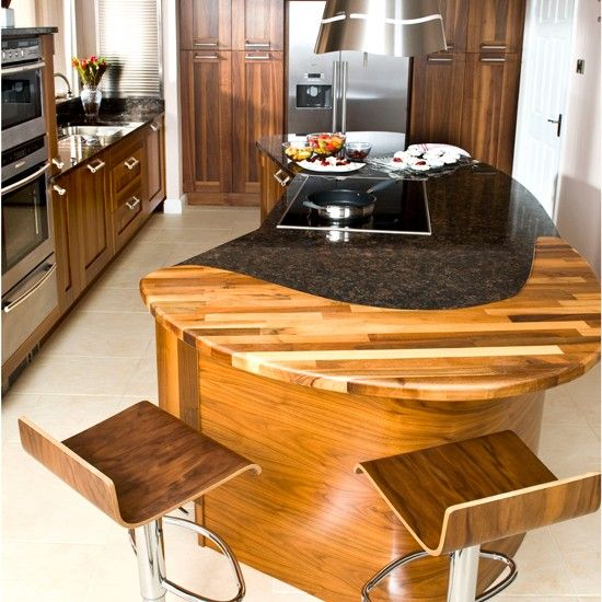 Granite Mixed With Butcher Block Curved Kitchen Island Curved Kitchen Kitchen Island Design