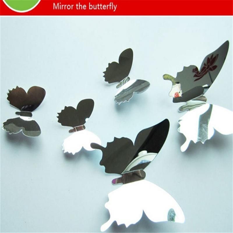 New Arrive Mirror Sliver 3D Butterfly Wall Stickers Party Wedding Deco