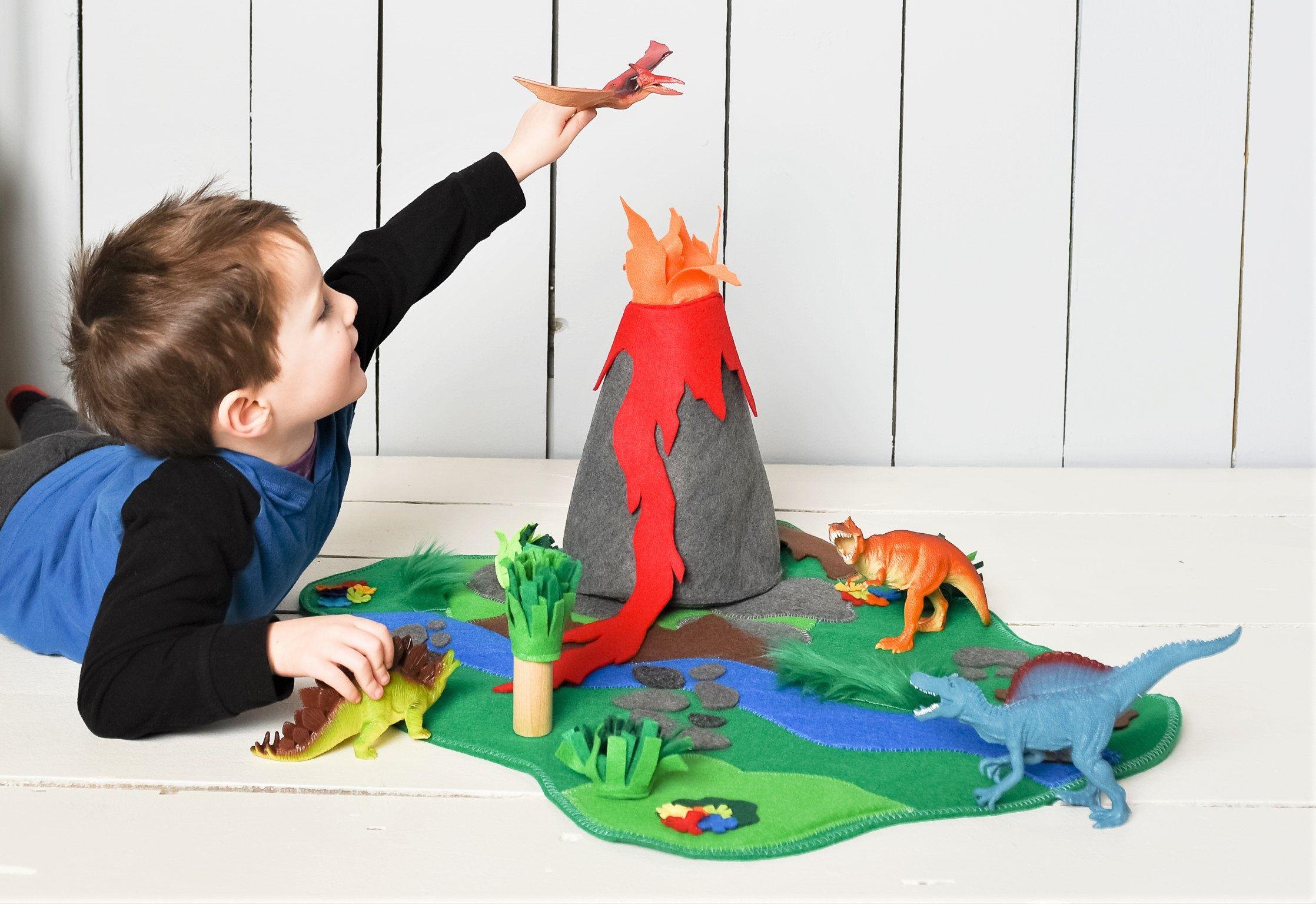 Jursassic World Playmat Volcano Play Mat Dinosaur Land Large Felt Play Mat Includes Everything Floor Play Ma Felt Play Mat Chirstmas Gift Handmade Toys