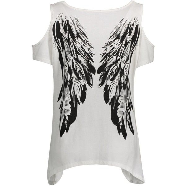 ef38c4d88d9 Plus Size Cold Shoulder Angel Wings T Shirt ( 20) ❤ liked on Polyvore  featuring tops