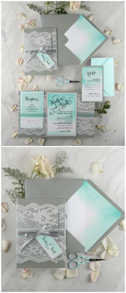 Turquoise Tiffany Blue Wedding Invitation With Real Lace Weddingideas Tiffanyblue