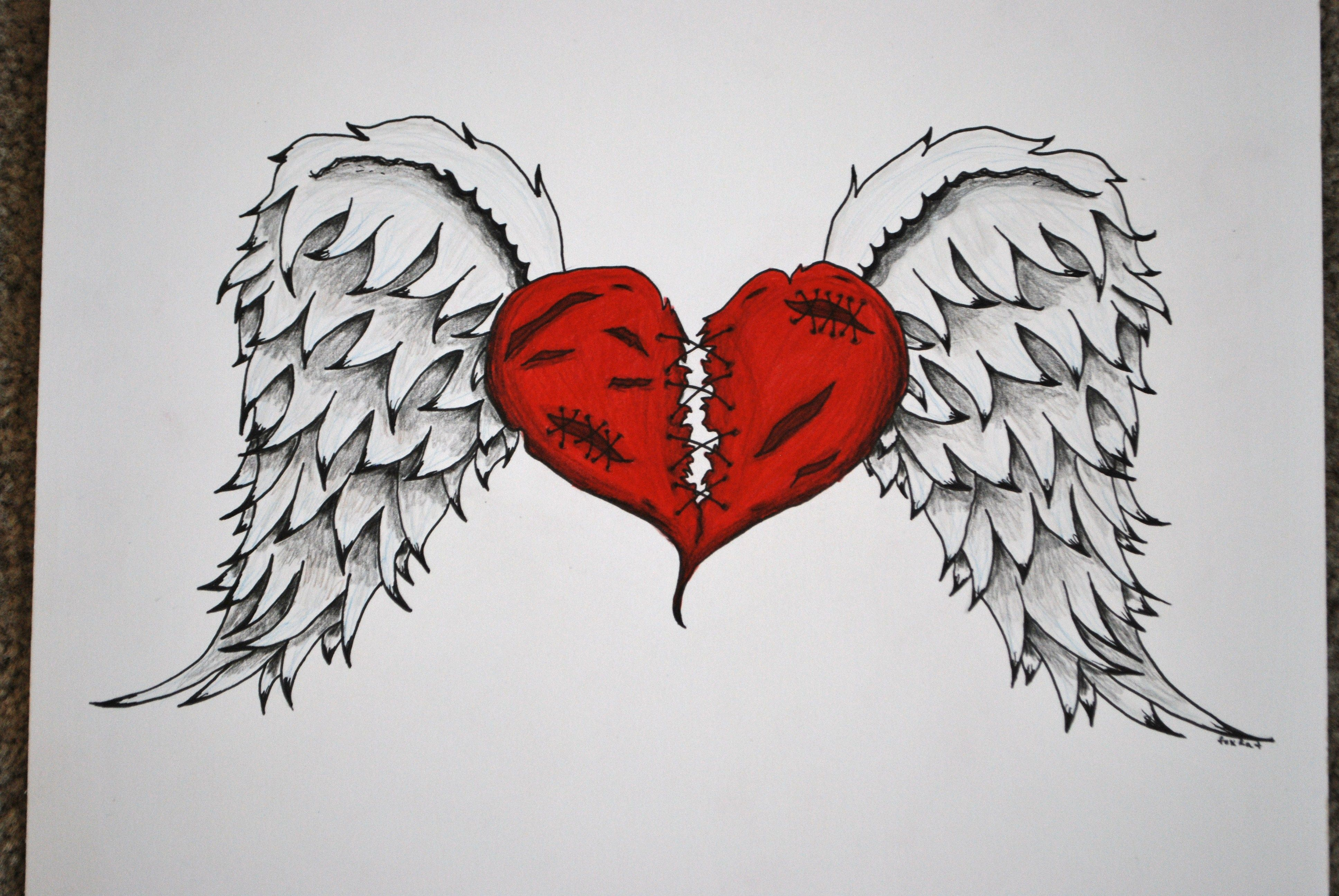Broken Hearted Drawings With Wings Google Search Heart Tattoo