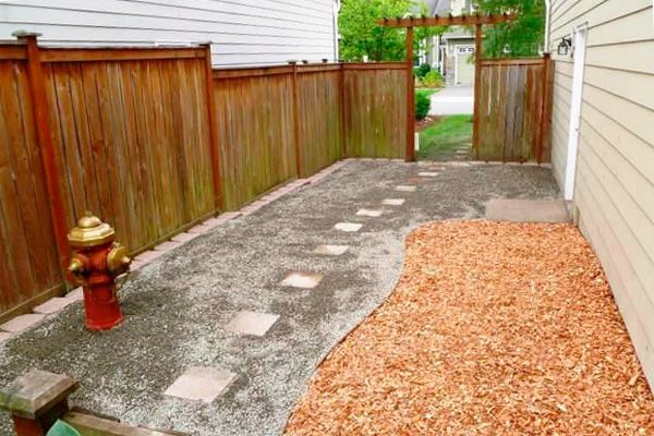 Dog backyard on pinterest dog friendly backyard dog for Garden designs for dogs