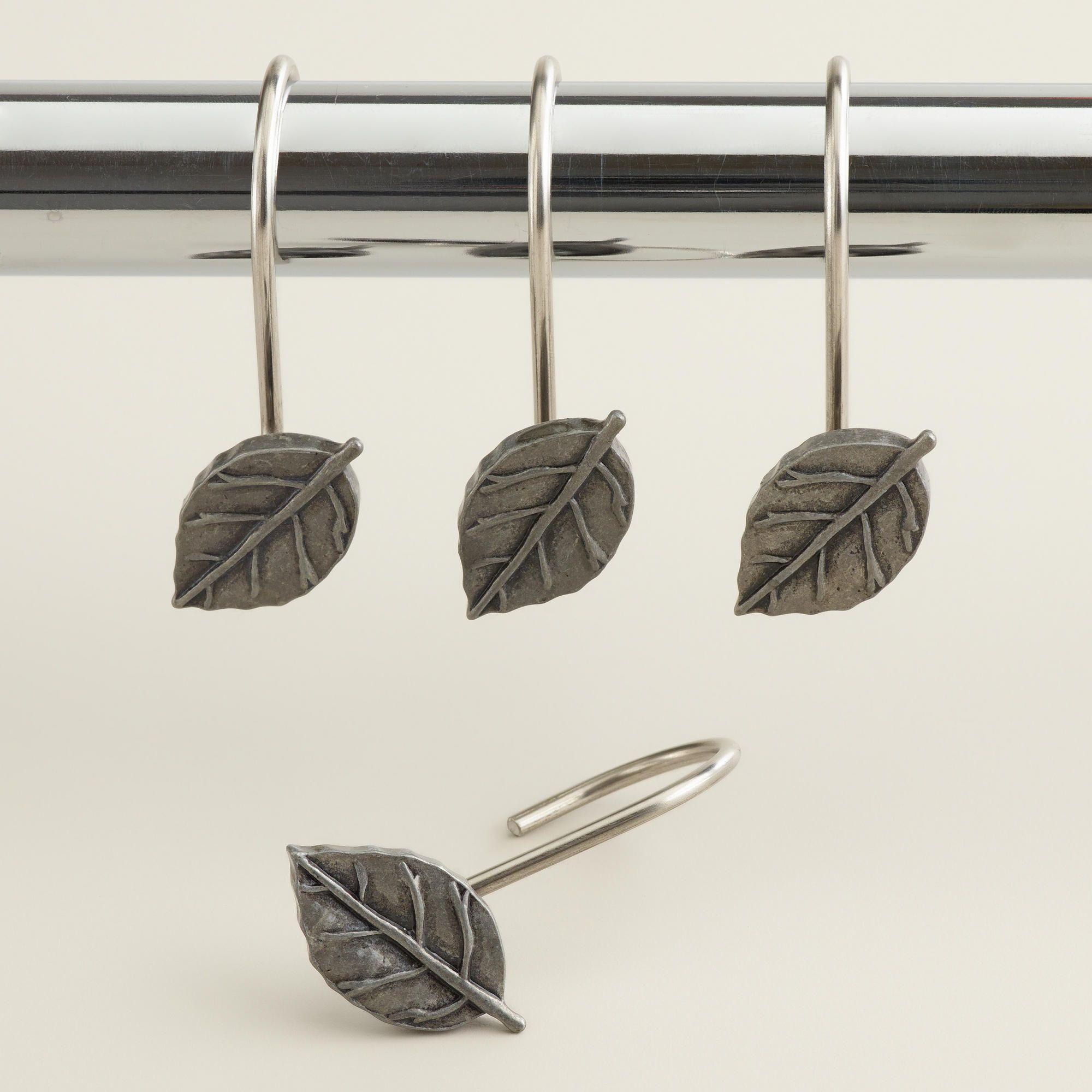 Antique Pewter Leaf Shower Curtain Hooks Set Of 12 World Market