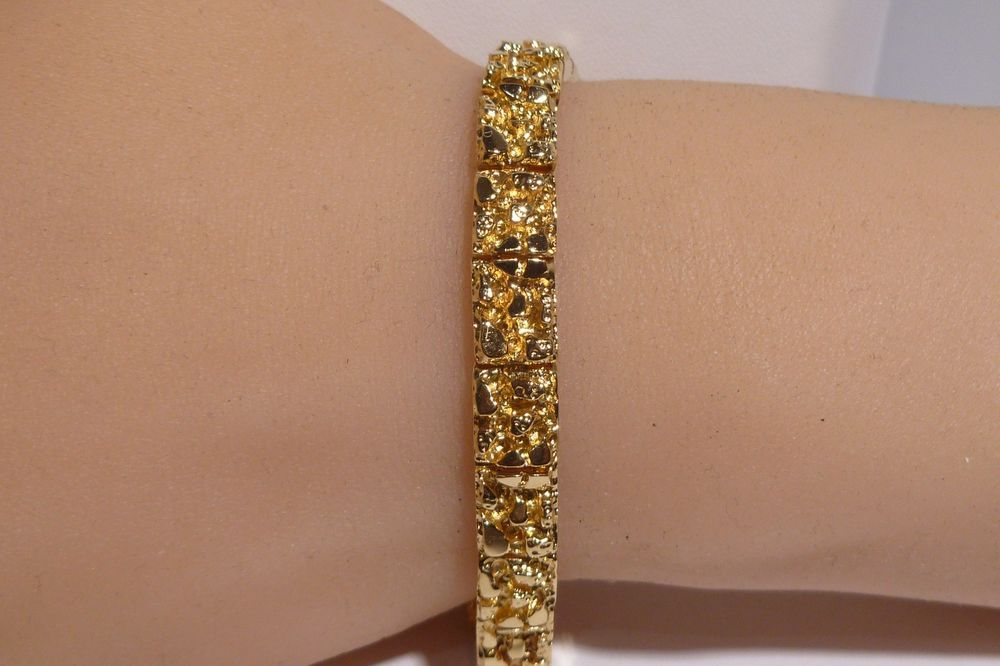 14k Yellow Solid Gold Nugget Bracelet Heavy Handmade 29 4 Grams 6 Long