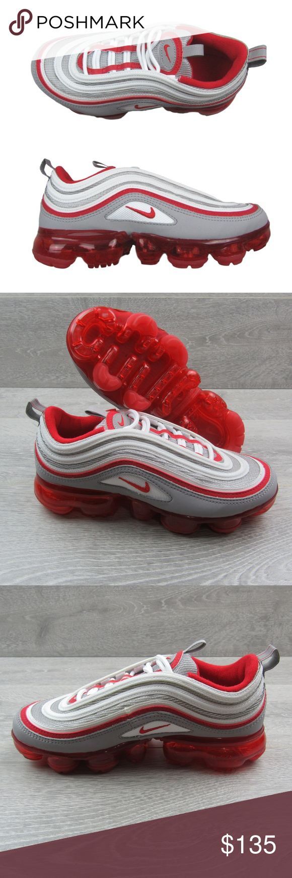 Nike Air Vapormax 97 Gs Size 4 5y Womens Size 6 Nike Air Vapormax 97 Gs Atmosphere Grey University Red Colorway Style Nike Air Vapormax Womens Sizes Nike Air