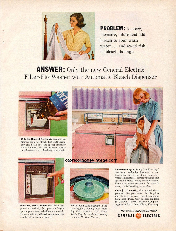 Vintage 1959 General Electric Washer Dryer Magazine Ad Ge