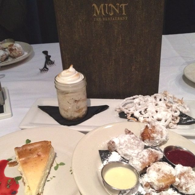 Choices, choices...Some of the desserts at Mint (cheese cake, beignet balls and banana pudding.)