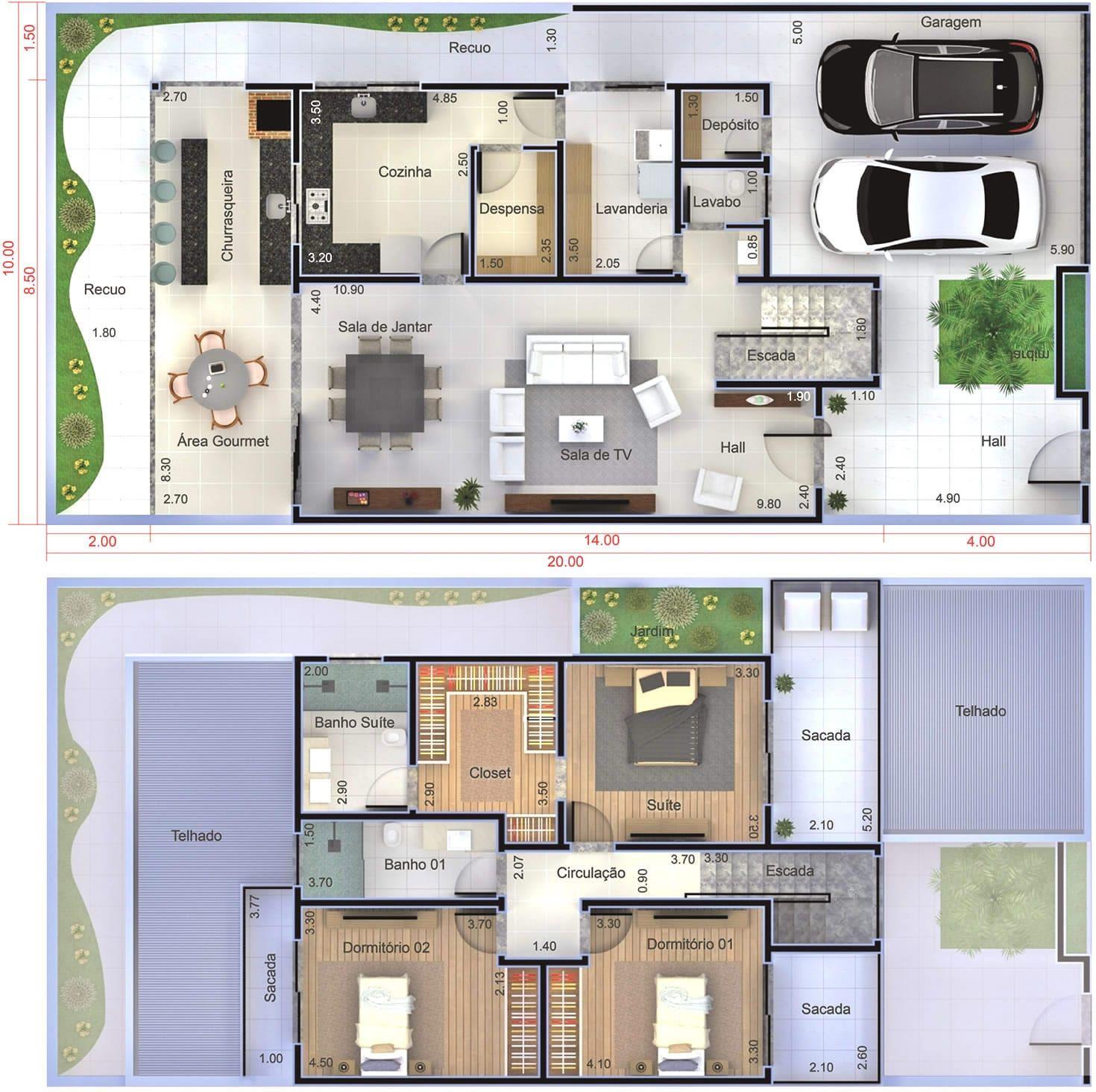 Planta de sobrado moderno com 3 quartos planta para for Plantas de casas tipo 3 modernas
