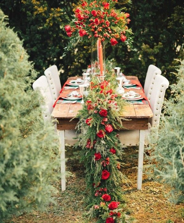 red wedding #christmas red #wedding #table decoration