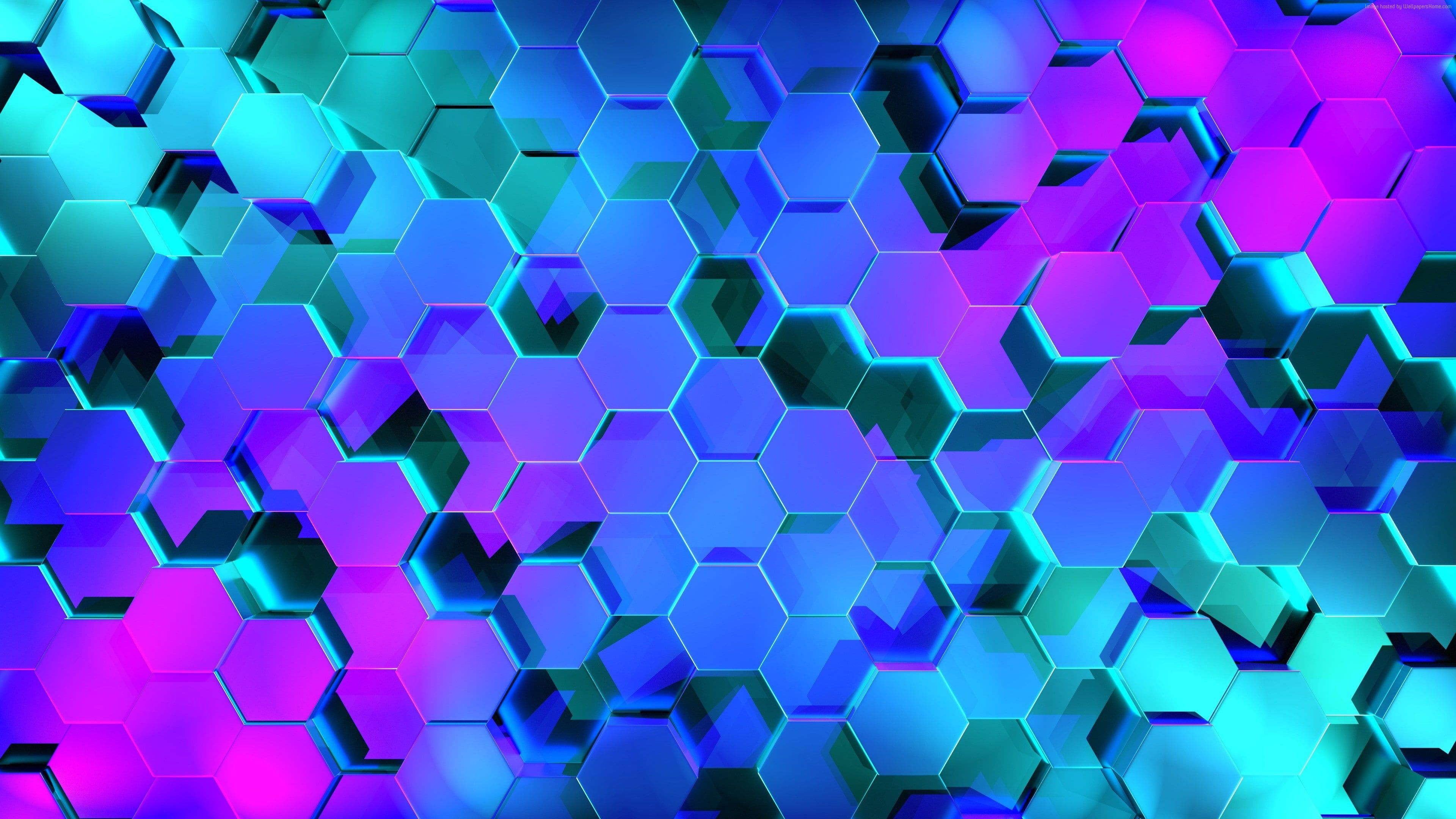 Hexagon 3d 4k Geometry Colors 4k Wallpaper Hdwallpaper Desktop Hexagon Wallpaper Neon Wallpaper Abstract Wallpaper