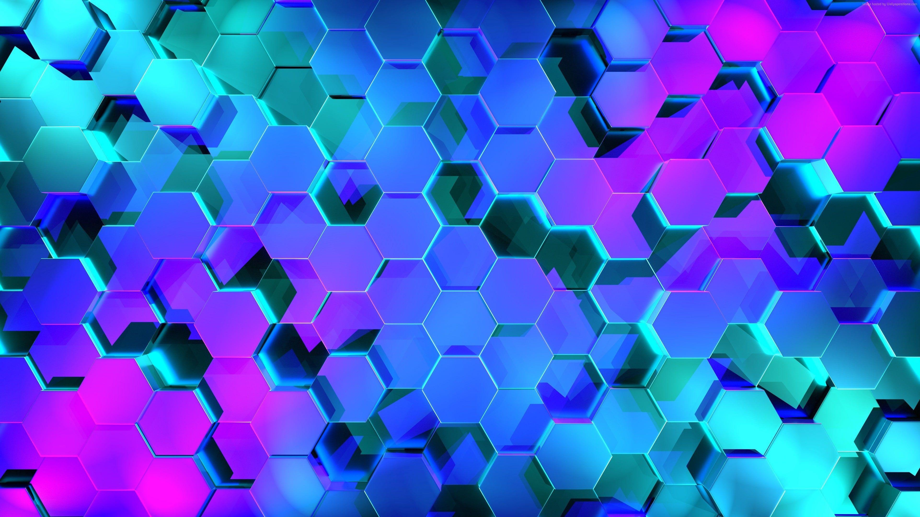 Hexagon 3d 4k Geometry Colors 4k Wallpaper Hdwallpaper Desktop Hexagon Wallpaper Neon Wallpaper Abstract Wallpaper