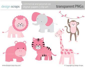 baby girl clip art, pink wild jungle safari zoo animals ...