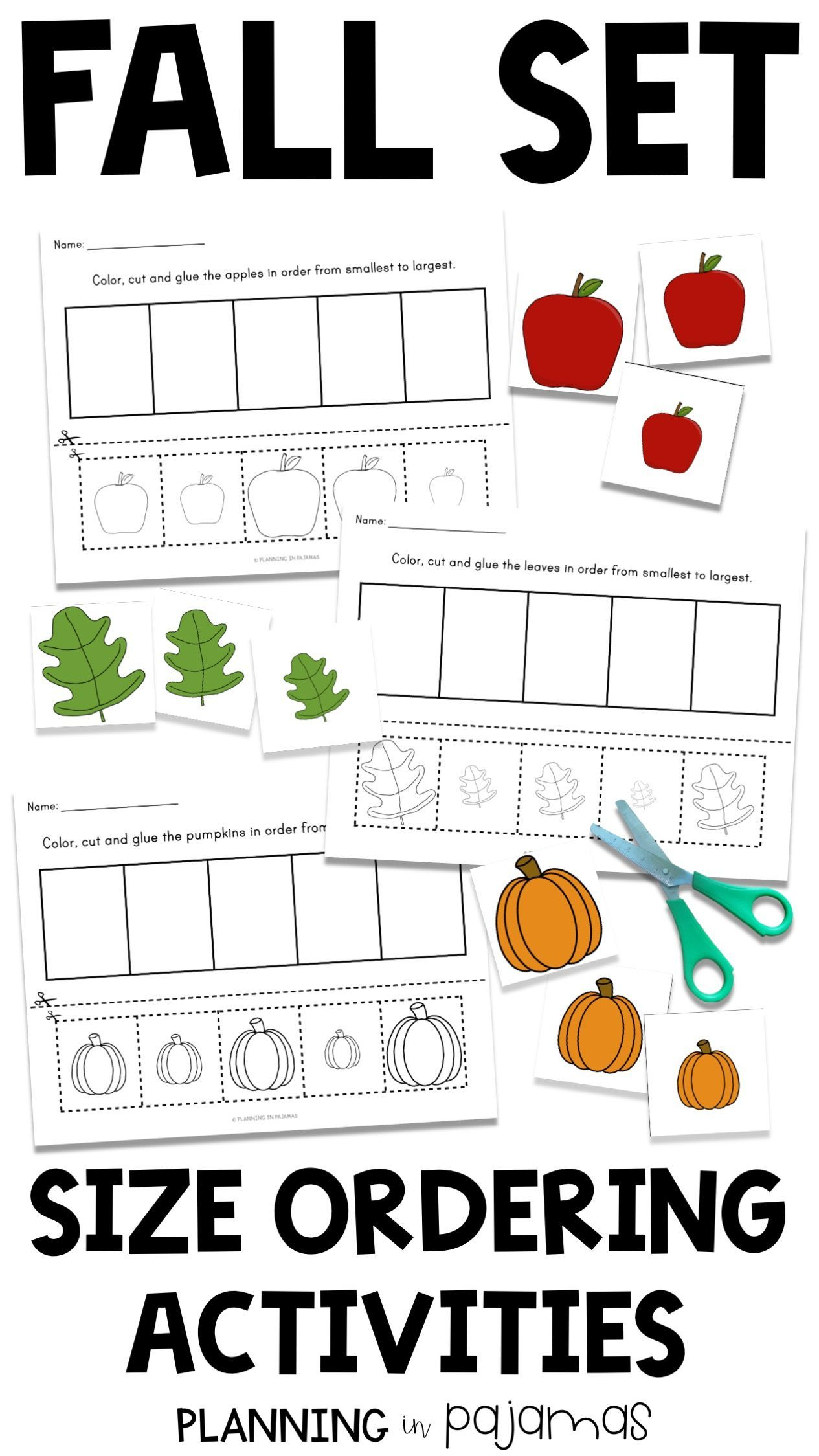 Size Ordering Apples Pumpkins And Leaves Fall Set Non Standard Measurement Is Practiced By Orde Fall Kindergarten Activities Fall Kindergarten Fall Lessons [ 2249 x 1265 Pixel ]