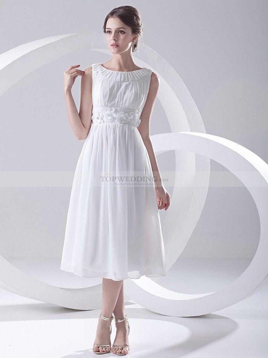 Bateau neckline tea length chiffon party dress with embellished sash