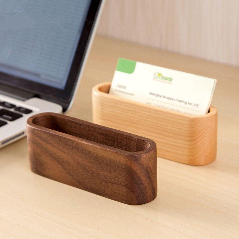 Creative wood desk business card storage box simple business card ...