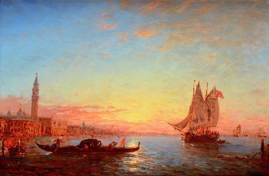 Félix ZIEM (1821-1911) Vue de Venise au soleil couchant Huile sur panneau d'acajou Signé en bas à droite 39,7 x 66 cm Ici le Palais des Doges et le Grand Canal vue de la pointe de la Douane. Plusieurs… - Osenat - 28/06/2015