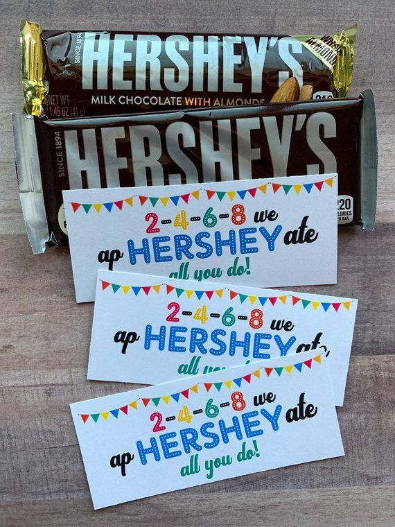 INSTANT DOWNLOAD Hershey Bar Appreciation Printables Tags Gifts Treats Teacher Cards Student Leaders #employeeappreciationideas