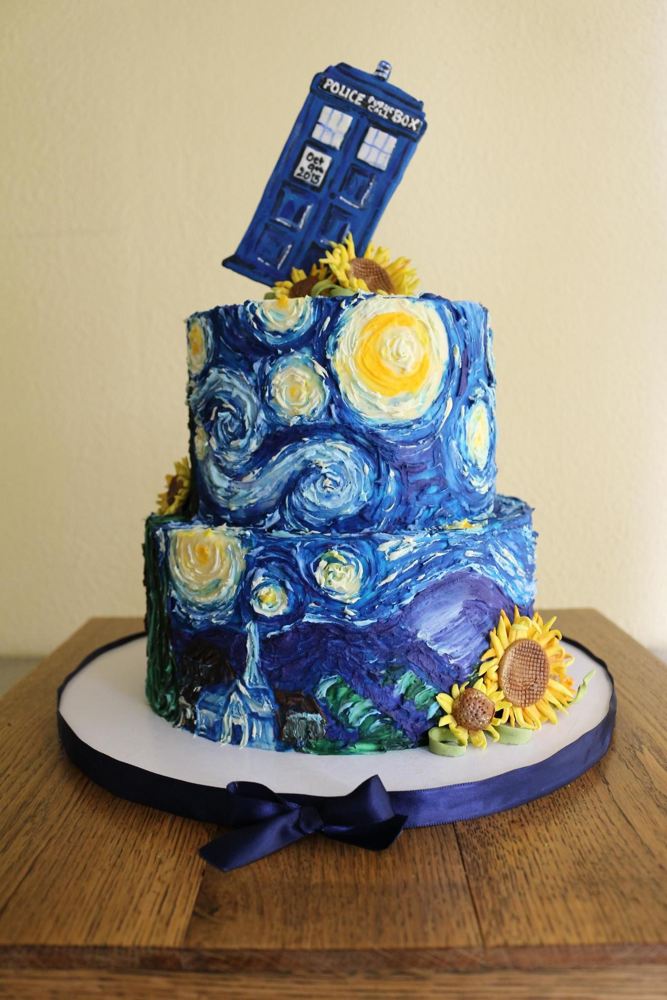 Super Dr Who Van Gogh Buttercream Wedding Cake Doctor Who Cakes Funny Birthday Cards Online Inifofree Goldxyz