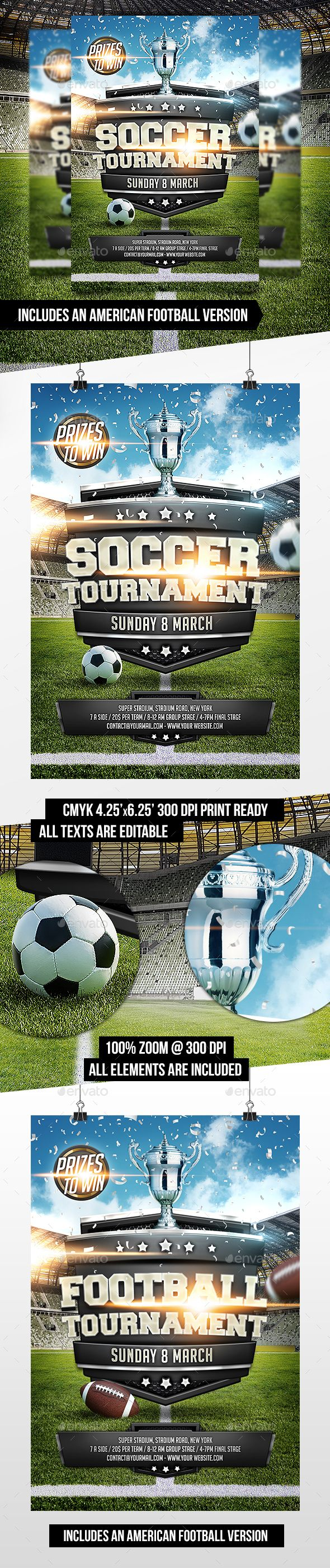 Soccer Football Tournament Flyer Template Sports Events