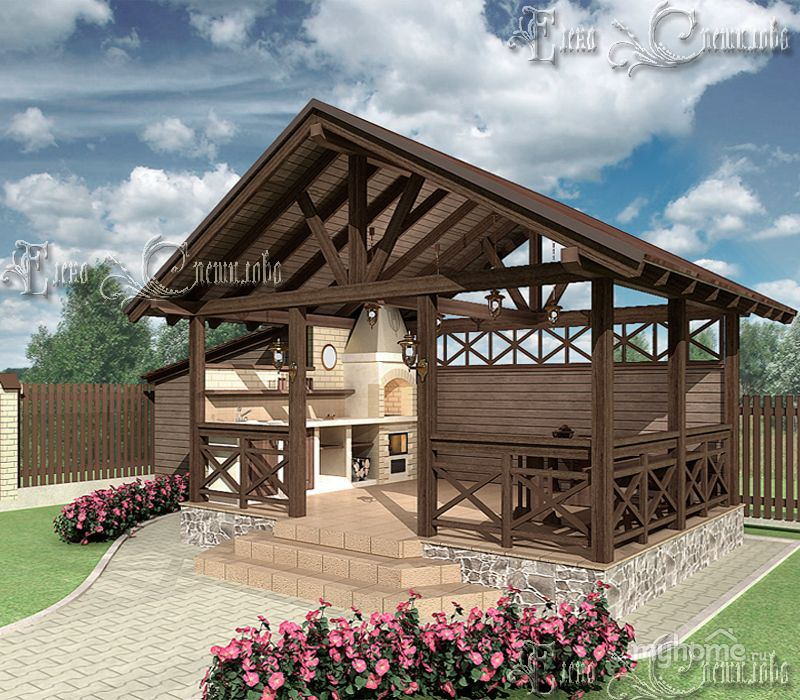 Уютная Беседка с барбекю · Holz PavillonProjekte Im FreienOutdoor ...