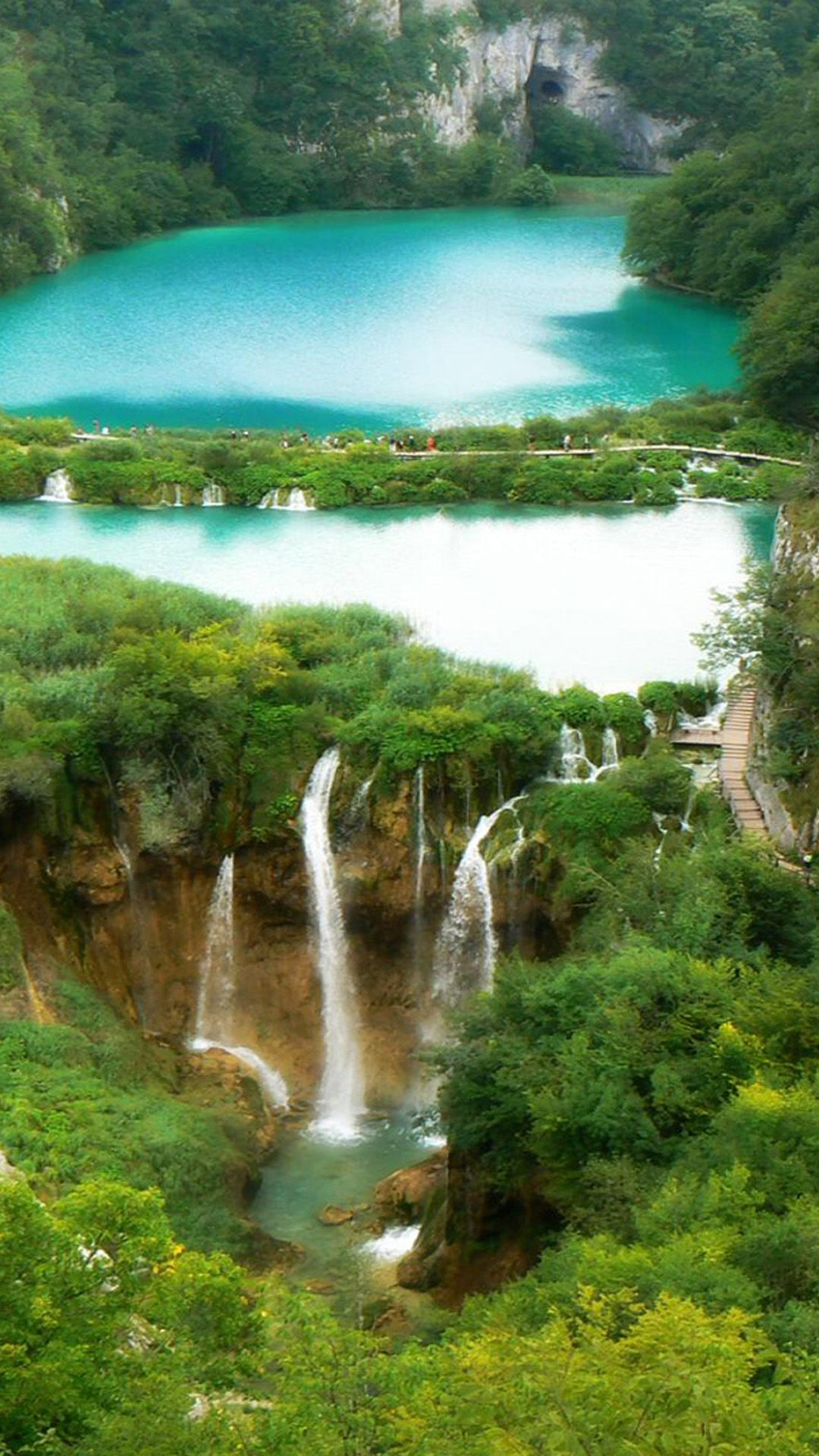 Nature Fairy Waterfall Forest Landscape iPhone 6 wallpaper