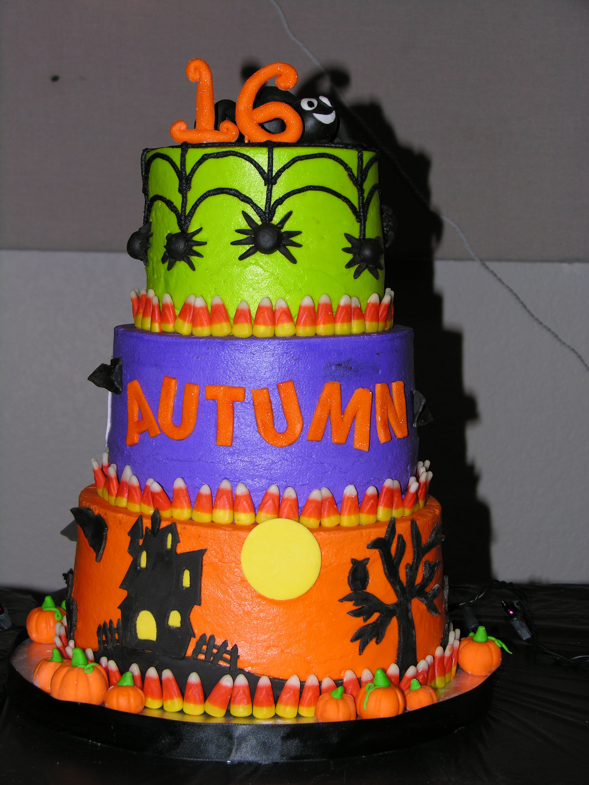 "Halloween 16th Birthday Halloween themed 16th birthday cake 6"" 8"