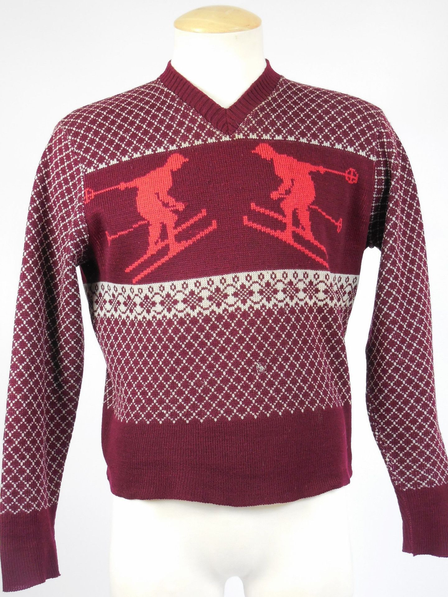 Vintage Jantzen 1940's 1950's mens or women's red patterned ski sweater 0INgQ1F6n