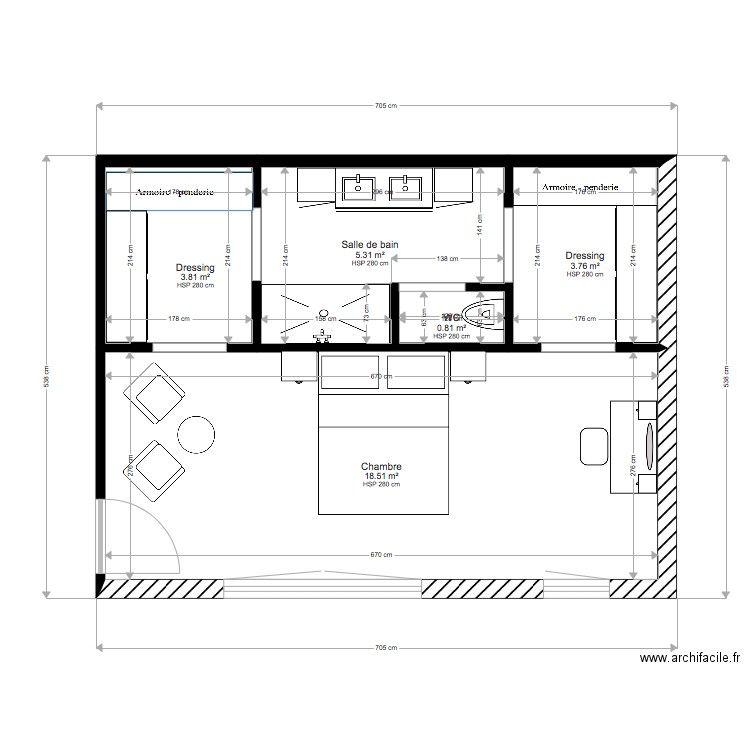 PLAN SUITE PARENTALE 1. Plan de 5 pièces et 32 m2 | Chambre parentale plan, Plan suite parentale ...