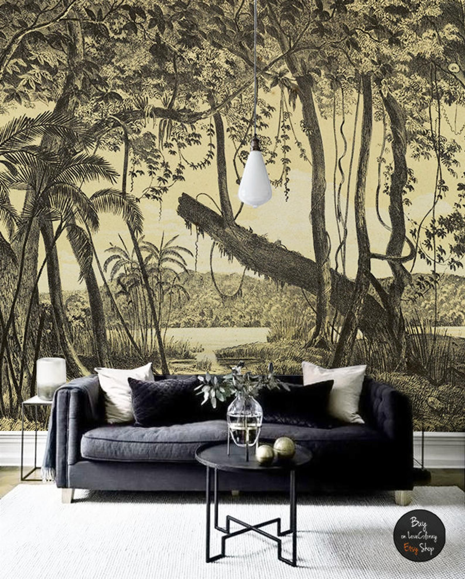 Nature Of South America Removable Wallpaper Peel And Stick Tropical Wall Mural Sketch Wall Art Tropical Wallpaper Jungle Vintage 68 Wall Murals Tropical Wallpaper Mural