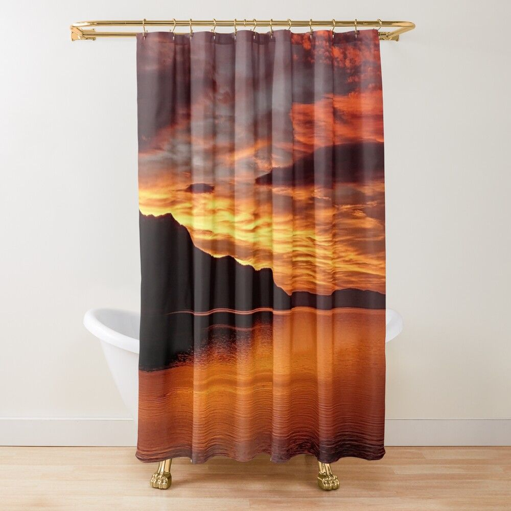 Veytaux Lake Sunset Shower Curtain By James Martin In 2020 Shower Curtain Curtains Lake Sunset