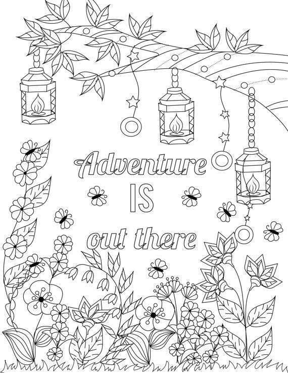 Adventure IS Out There Inspirational Quotes A Positive Uplifting By LiltColoringBooks