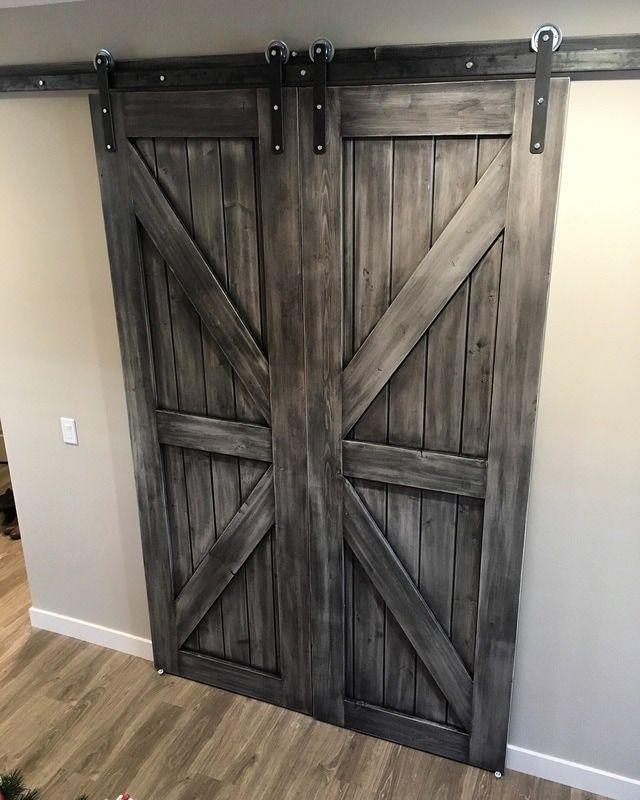 His Her Home Double Sliding Barn Doors In Custom Grey Finish Barndoors Slidingbarndoors Double Sliding Barn Doors Interior Barn Doors Diy Barn Door