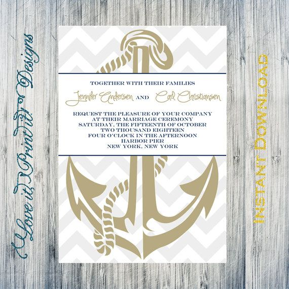 Wedding Invitation DIY Template Anchor in Navy Editable  Printable - Sample Address Book Template