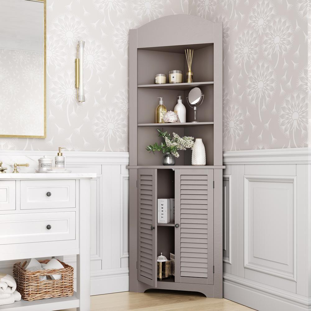 Riverridge Home Ellsworth 23 1 4 In W X 11 1 2 In D X 68 31 100 In H Corner Bathroom Linen Storage Tower Cabinet In Taupe 06 127 The Home Depot Tall Corner Cabinet Corner Cabinet Corner Linen Cabinet
