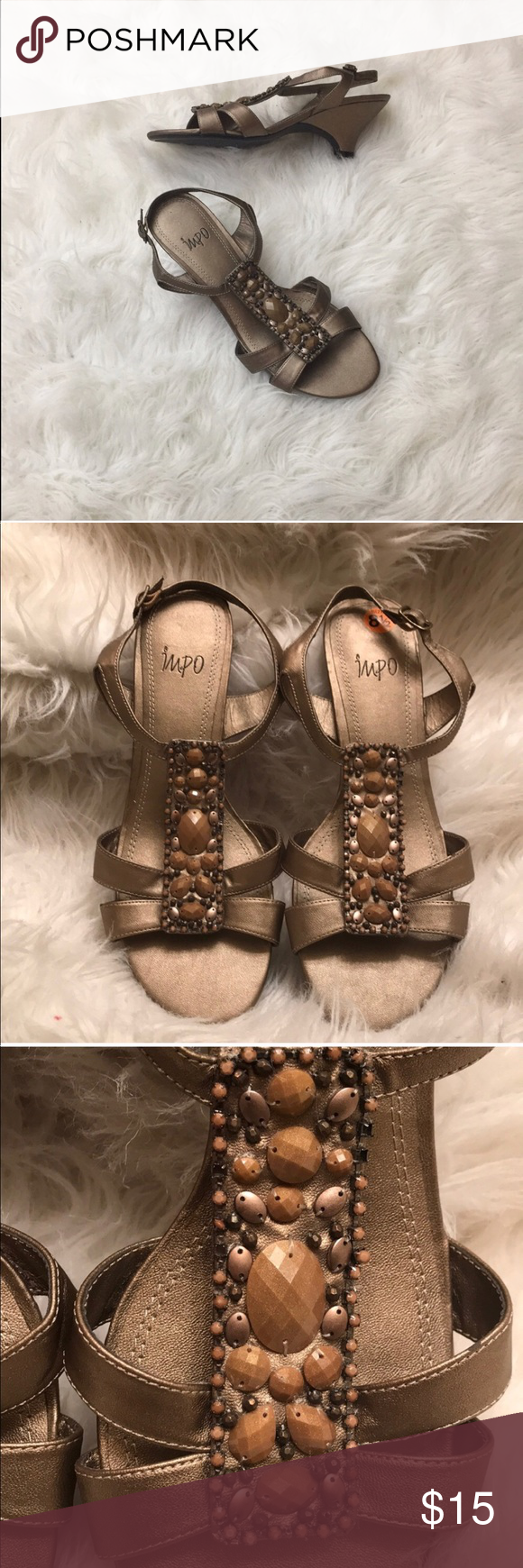 13e28161b Impo 💜 Impo bronze sandal with chestnut color jewels in front. Please see  pics for details. Impo Shoes Sandals