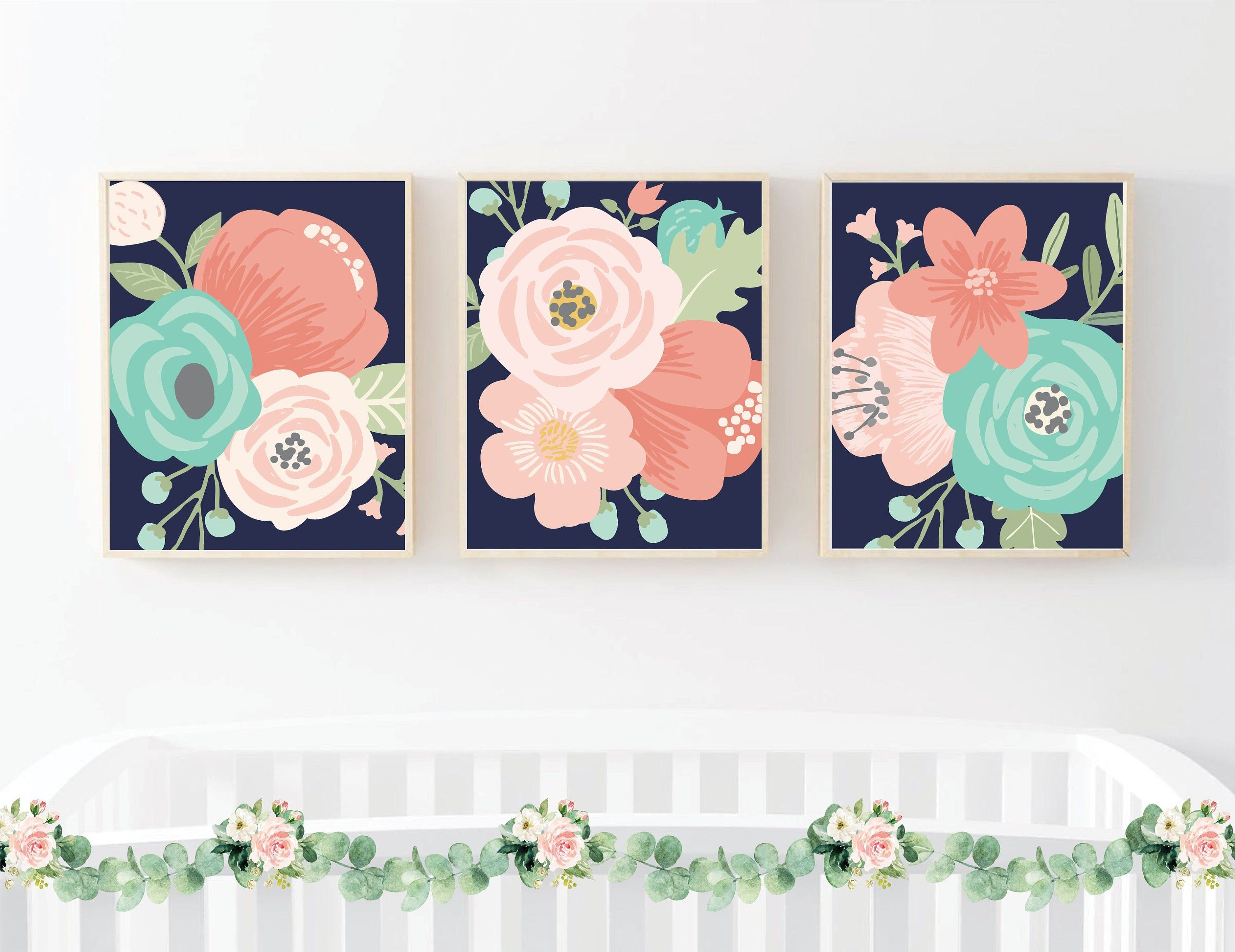 Navy Coral Aqua Large Flower Wall Decor Pink Floral Nursery Etsy In 2020 Floral Nursery Print Floral Nursery Wall Art Pink Floral Nursery